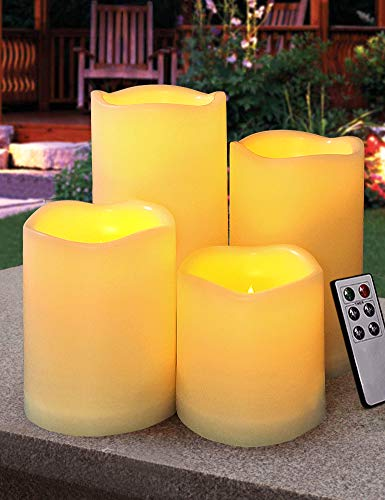 HOME MOST Set of 4 Outdoor Pillar Candles with Timer Waterproof - Battery Operated LED Pillar Candles with Remote 3x3 3x4 3x5 3x6 - Plastic Flickering Flameless Pillar Candles Unscented for Outside ()
