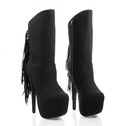 Bootie Calf Stiletto Black Mid Fringe Pu Platform wAqUd4a
