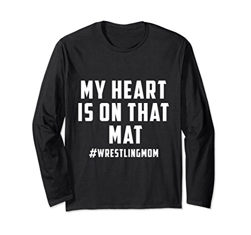 Unisex My Heart Is On That Mat Wrestling Mom Long Sleeve Shirt Large Black by My Heart Is On That Mat Long Sleeve Shirt