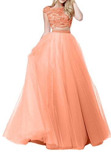 Abschlussballkleider Lang Promkleider Dunkel Charmant Zwei Damen Abendkleider teilig Tuell Orange Ballkleider Rosa zgwq1vTwHU