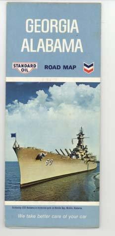 Chevron Road Map (Standard Oil (Chevron) Road Map Georgia Alabama 1967)