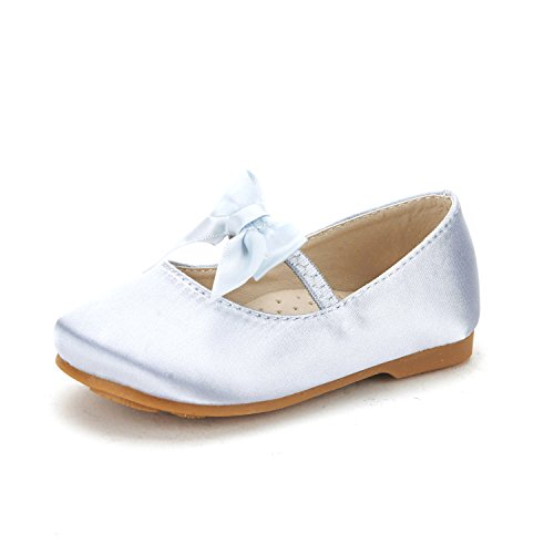 DREAM PAIRS SOPHIA-22 Adorables Mary Jane Front Bow Elastic Strap Ballerina Flat Toddler New Silver Size 4 by DREAM PAIRS