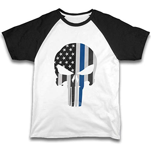 (JTKPE Summer Toddler Kids T-Shirt Tees Punisher Skull Police Thin Blue Line US Flag)