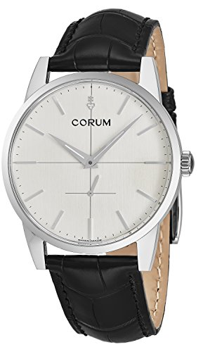 Corum Heritage Mens Stainless Steel Ultra Flat Mechanical Watch   38Mm Silver Face Black Leather Band Luxury Swiss Watch For Men 157 163 20 0001 Ba48