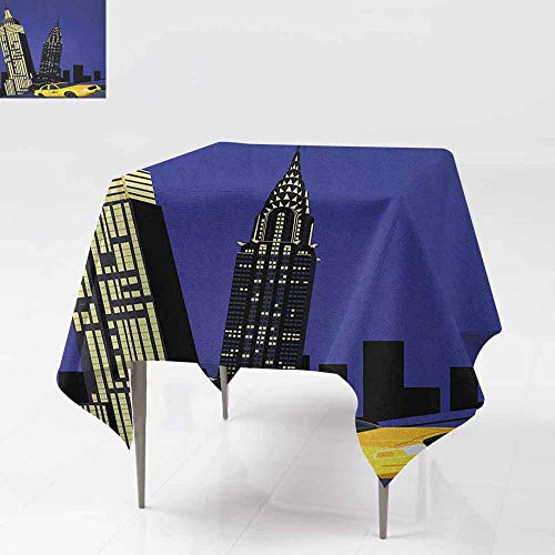 SONGDAYONE Stylish Square Tablecloth City Skyscrapers and Taxi New York Theme American Downtown Scenic Skyline Daily use Violet Blue Yellow Black W50 xL50]()
