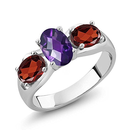 1.75 Ct Oval Checkerboard Purple Amethyst Red Garnet 925 Sterling Silver Ring (King Amethyst)