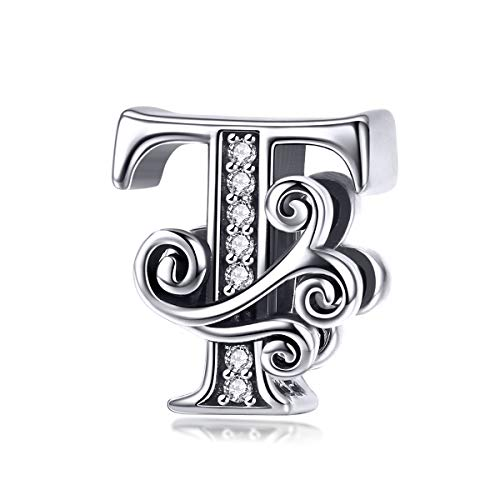 (Solid 925 Sterling Silver with Cubic Stones, Complete A~Z Gift Options Alphabet Charm Letter Beads fit Pandora European Bracelets (T))