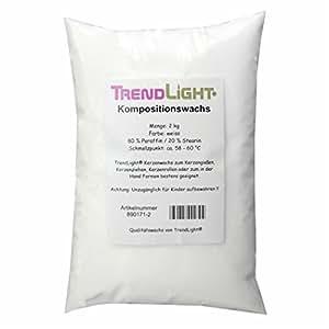 TrendLight 890171-2 - Cera para hacer velas (80% parafina y 20% estearina, 2 kg)