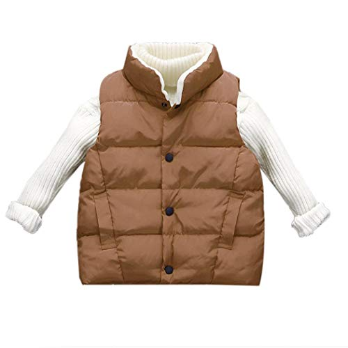 KOKOBUY Children Casual Single-Breasted Stand Collar Thick Vest Coat Winter Outerwear (Collar Single)