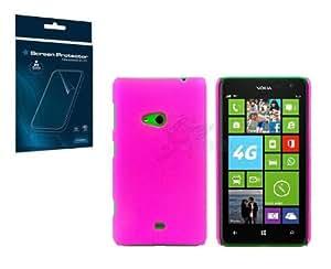 FUNNYGSM–Funda trasera de rígida rosa para Nokia Lumia 625+ Protector de pantalla