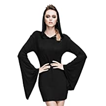 Gothic Women Casual Horn Sleeve Bodycon Hooded dress