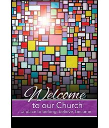 (Church Welcome Folder - Welcome To Our Church - Stained Glass - (Package of 12) )