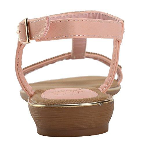 Alexis Leroy Womens Summer T-straps Buckle Flat Sandals Pink YkkJZ
