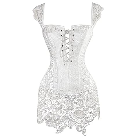Miss Moly Women Steampunk Faux Leather Bustier Sexy Dress Corset Top Zip Plus Size (XXX-Large, White)