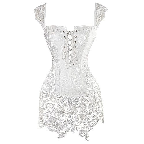 Miss Moly Women Steampunk Faux Leather Bustier Sexy Dress Corset Top Zip Plus Size (Small, White) (Sexy Women Themes)