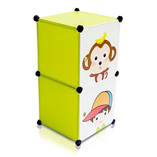 VENKON - Kinderzimmer Steckschrank Frei Gestaltbares DYI Steckregal System Regalschrank: 2-Module-Set, grün
