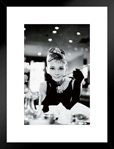 Pyramid America Audrey Hepburn Breakfast at Tiffanys Movie Matted Framed Poster 20x26 inch (Breakfast Tiffanys Movie Poster)