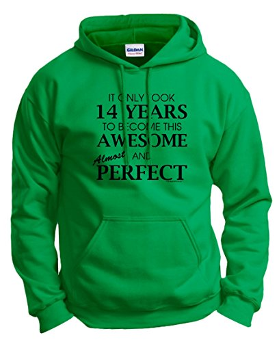 14 Year Old Birthday Gifts 14th Birthday Gifts For All Awesome Almost Perfect Hoodie Sweatshirt Small Green