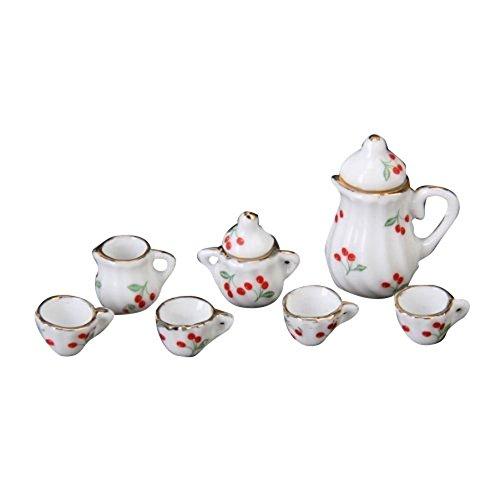 Cherry Dish - 15pcs Dollhouse Miniature Dining Ware Porcelain Tea Set Dish Cup Plate -Red Cherry
