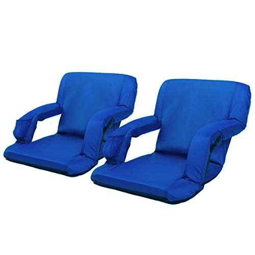 AceLife Stadium Seat Portable Reclining Bleacher Chair with Cup Holder and Phone Pocket - Set of 2, Blue ()