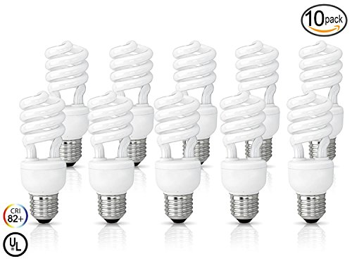(10 Pack) Circle 13 Watt (60 Watt) Compact Fluorescent Light, Daylight 6500K, Mini Spiral Medium Base CFL Light - Daylight Output High Base Contact