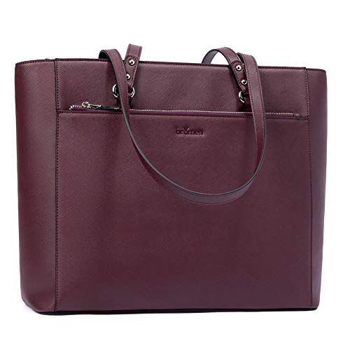 Bromen Women Tote Purse Leather Purses and Hangbags Work Shoulder Bag Fit 15.6 inch Purple
