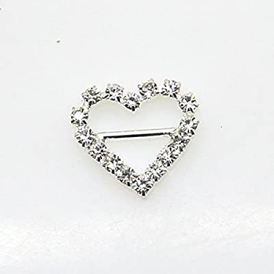 50pcs 17mm x 15mm Heart Shaped Rhinestone Buckle Slider for Wedding Invitation Letter