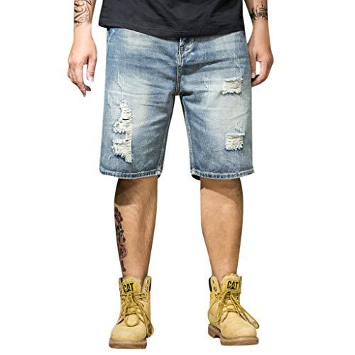 Homme Denim Pants - iHPH7 Jean Shorts Men Loose Hip Hop Jeans Work Denim Shorts with Pockets Men Summer Jeans Hommes Jean Shorts Skate Board Harem Fashion Jean Plus Size XXL Blue