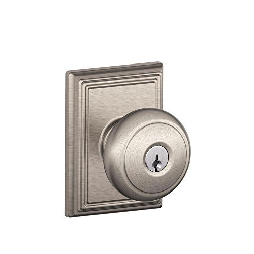 Schlage F51A AND 619 ADD Addison Collection Andover Keyed Entry Knob, Satin Nickel by Schlage Lock Company