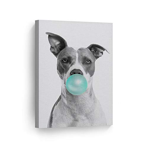 Smile Art Design Cute Pitbull Dog Animal Bubble Gum Art Teal Blue Canvas Print Black and White Wall Art Home Decoration Pop Art Living Room