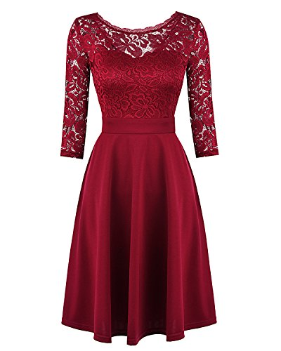 Mixfeer Women's Vintage Floral Lace Cocktail Swing Dress With 3/4 (Floral Cocktail)