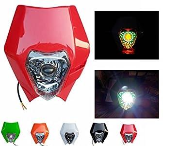 Red LED HeadLight Street Fighter Dirt Bike For Kawasaki KDX200 KLX110 KX100 250 Honda CR125R CRF XR250R Yamaha TW200 YZ125 TTR250 Custom