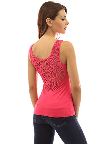 Rosa Donne Halter Retro Pizzi PattyBoutik Increspato Top Scuro all'Uncinetto Tq0aS