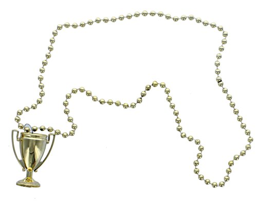 12 Metallic Gold Trophy Necklaces Party Favor Award