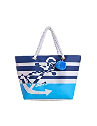 Waterproof Large Tote Beach Bag for Women Cotton Handles with Pompom (Blue)