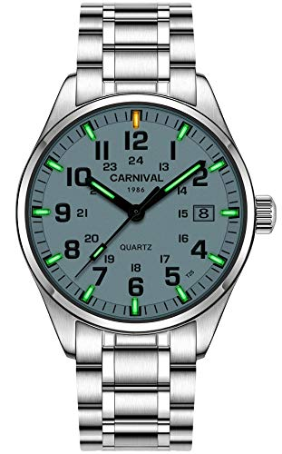 (PASOY Men's Luminous Watch Green Swim Waterproof Sapphire Glass Stainless Steel Analog Quartz Watches)
