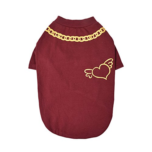 Yunt Dog Clothes B Letter Pattern Cotton Warm Sweatshirt Pajamas Windproof Cold Weather Pet Coat Jacket Vest Apparel for Dogs Red L ()