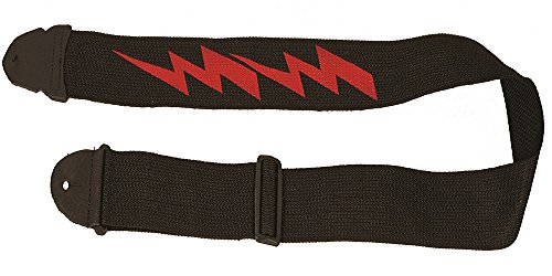 LM Products PS-4LB Silk Screen Guitar Strap, Lightning Bolt