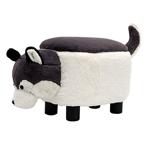 GUTEEN Upholstered Ride-on Toy Seat Storage Ottoman Footrest Stool with Vivid Adorable Animal-Like Features(Gray Dog) by GUTEEN