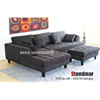 3pc Contemporary Dark Grey Microfiber Sectional Sofa Set S168LDG
