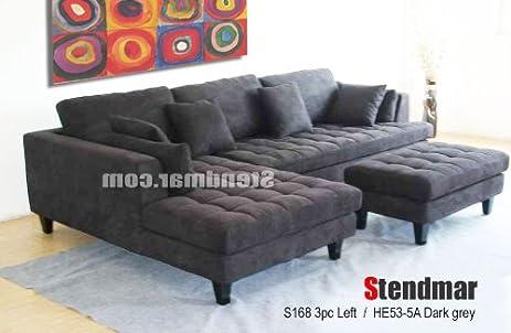 Com 3pc Contemporary Dark Grey Microfiber Sectional Sofa