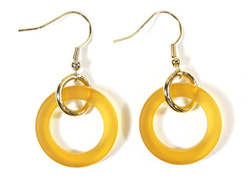 Style-ARThouse Afterglow, Rich Yellow Sea Glass Hoop Earrings on Goldtone French Wires