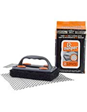 Q-Swiper BBQ Grill Brush Cleaner Set - 1 Brush Handle with Scraper and 25 BBQ Grill Cleaning Wipes. Bristle Free & Wire Free. Safe Way to Remove Grease and Grime for A Clean and Healthy Grill!