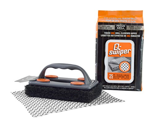 Q-Swiper BBQ Grill Brush Cleaner Set - 1 Grill Brush with Scraper and 25 BBQ Grill Cleaning Wipes. Bristle Free & Wire Free. Safe Way to Remove Grease and Grime for A Clean and Healthy Grill! -