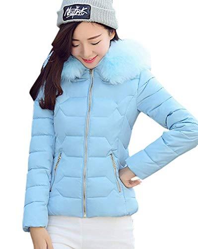 Outdoor Espesar Blau Mujer Especial Pieles Cortos Caliente Fit Fácil con con Plumas Elegante Invierno Parkas Pluma Cremallera Slim Estilo TwqSpTY