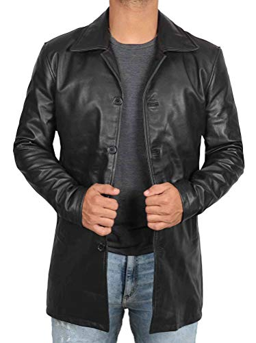 Mens Black Leather Trench Coat | Super Black, 3XL
