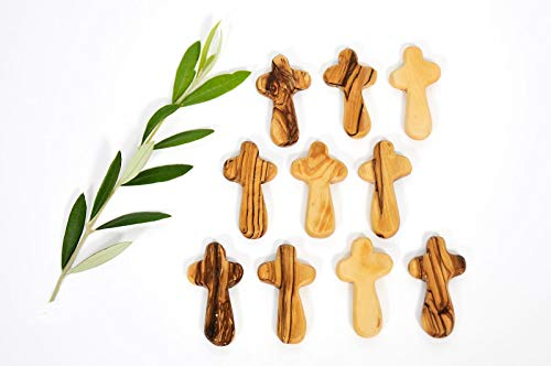 Olive Wood Small Pocket - Holding Crosses (25) by My Caring Cross (Image #1)