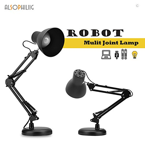 Multi Joint Swing Arm Desk Lamp Kit Clamp Tabletop Light Night Bedside Lamp Retro Vintage Architect Style with 48Pcs Eye Caring Led Adjustable Lighting Modes Metal ABS Made for Study Room Black (Arm Swing Vintage)
