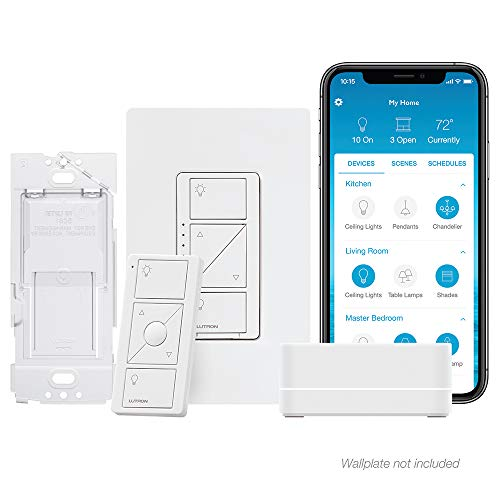 Lutron Caseta Wireless Smart Lighting Single Pole/3-way Dimmer Switch Starter Kit, P-BDG-PKG1W-A, Works with Alexa, Apple HomeKit, and the Google Assistant (3 Way Led Dimmer Switch With Remote)
