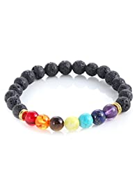 Lava Rock Beads Bracelet Elastic Chakra Stone Bracelet Bangle for Men Women 8mm